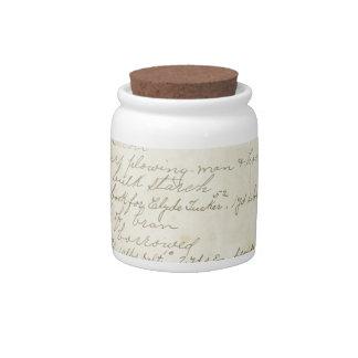 Escritura del diario del vintage jarras para caramelos