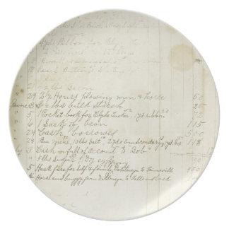 Escritura del diario del vintage plato para fiesta