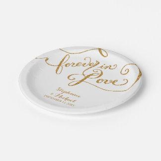 Escritura del estilo de la etiqueta para siempre plato de papel de 7 pulgadas