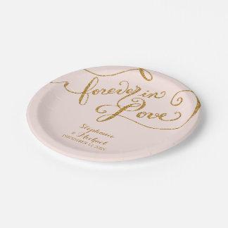 Escritura del estilo de la etiqueta para siempre platos de papel