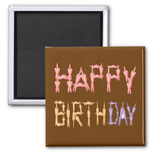 Escritura del feliz cumpleaños - arte del estampad imán para frigorífico