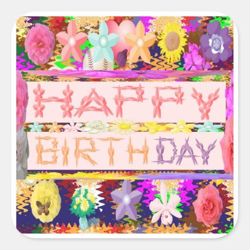Escritura del feliz cumpleaños - manía floral del pegatina cuadrada