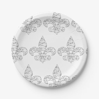 Escritura del francés de la flor de lis plato de papel de 7 pulgadas