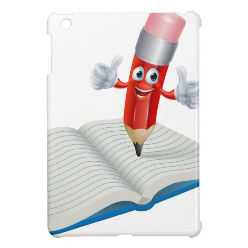 Escritura del hombre del lápiz del dibujo animado