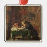 Escritura del hombre joven, 1852 adorno navideño cuadrado de metal