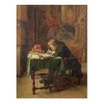 Escritura del hombre joven, 1852 postales