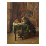 Escritura del hombre joven, 1852 póster