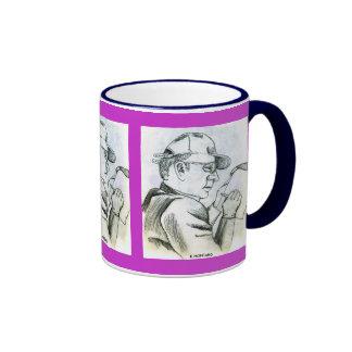 Escritura del hombre tazas de café