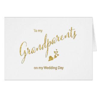 Escritura del oro a mis abuelos en mi día de boda tarjeta pequeña