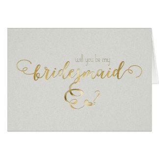 Escritura del oro usted será mi día de boda de la tarjeta pequeña