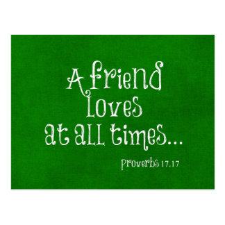Escritura del verso de la biblia del amigo tarjetas postales