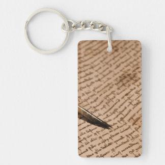 Escritura del vintage llavero rectangular acrílico a una cara