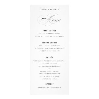 Escritura elegante blanco y negro del menú del invitaciones personales