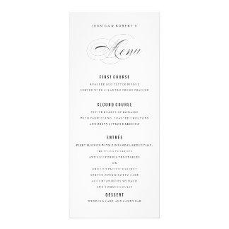Escritura elegante blanco y negro del menú del comunicado personalizado