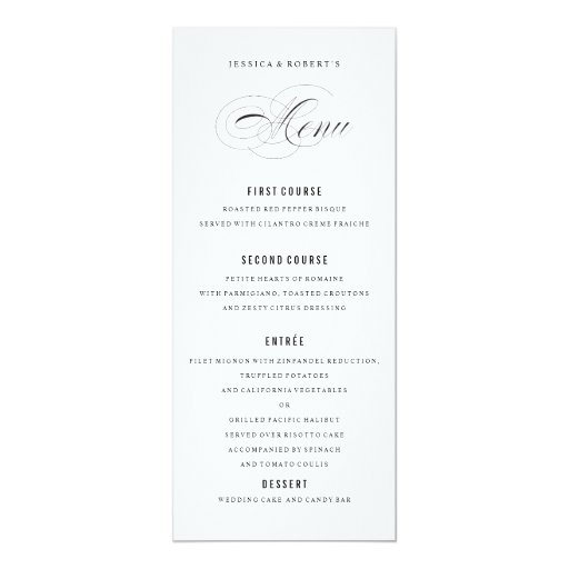 """Escritura elegante blanco y negro del menú del invitación 4"""" x 9.25"""""""