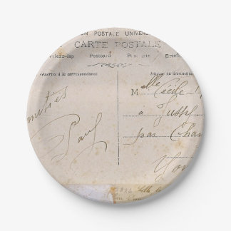 Escritura elegante de las postales del vintage platos de papel