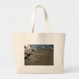 Escritura en la arena bolsa tela grande