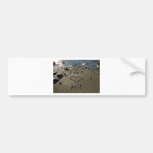 Escritura en la arena etiqueta de parachoque