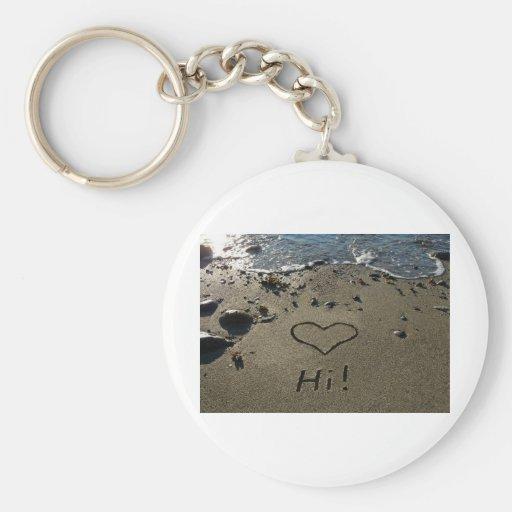 Escritura en la arena llaveros personalizados