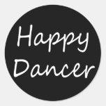 Escritura feliz del bw del bailarín etiquetas redondas