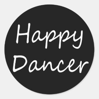 Escritura feliz del bw del bailarín pegatina redonda