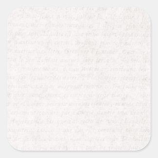 Escritura francesa antigua de papel del vintage pegatina cuadrada