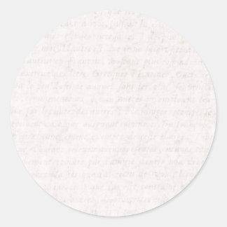 Escritura francesa antigua de papel del vintage pegatina redonda