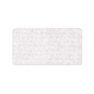 Escritura francesa antigua de papel del vintage qu etiqueta de dirección