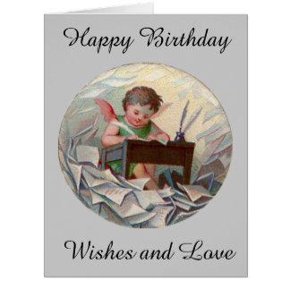 Escritura grande del niño del ángel del cumpleaños tarjeta de felicitación grande