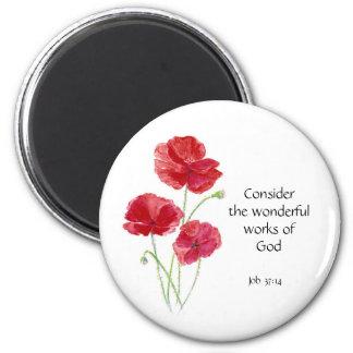 Escritura, inspirada, cita, flor, amapola imán redondo 5 cm