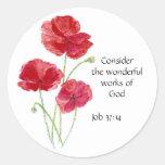 Escritura, inspirada, cita, flor, amapola pegatinas redondas