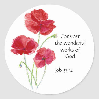 Escritura, inspirada, cita, flor, amapola pegatina redonda