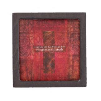 Escritura inspirada del 4:13 de los filipenses cajas de recuerdo de calidad