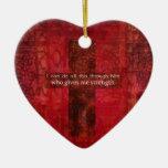 Escritura inspirada del 4:13 de los filipenses adorno de cerámica en forma de corazón
