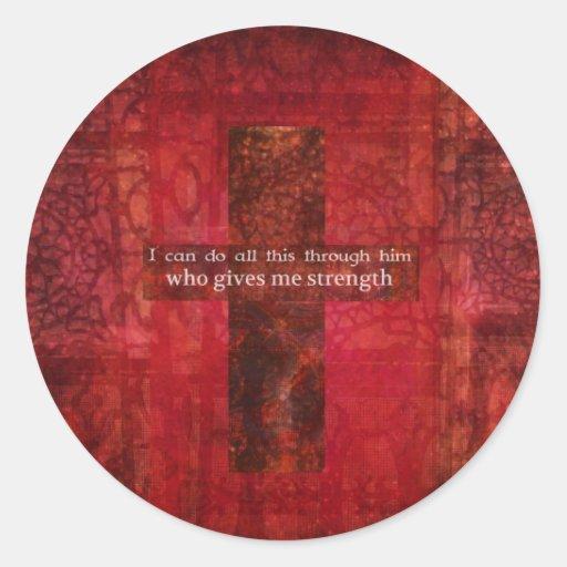 Escritura inspirada del 4:13 de los filipenses pegatina redonda