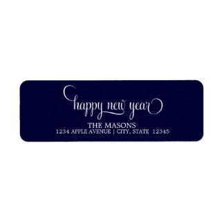 Escritura minúscula el | de la Feliz Año Nuevo Etiqueta De Remite