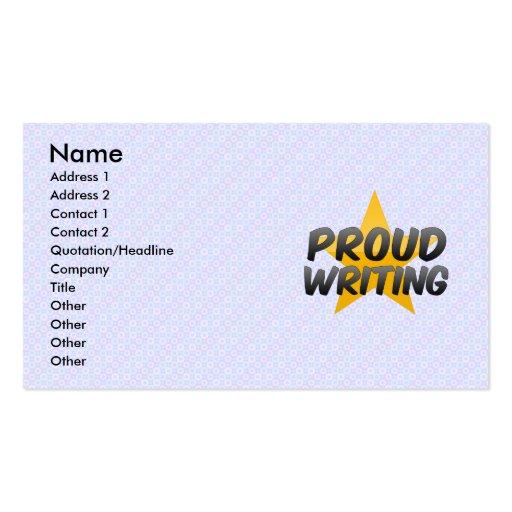 Escritura orgullosa tarjetas de visita