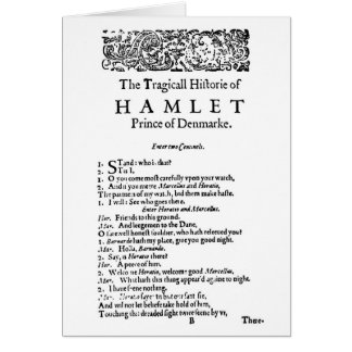Escritura original de Hamlet Felicitación