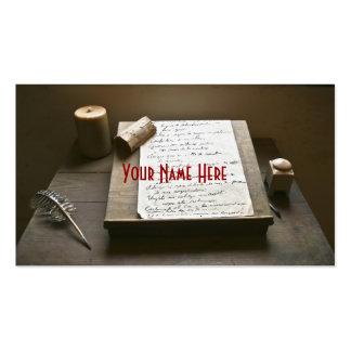 Escritura pasada de moda plantilla de tarjeta de visita