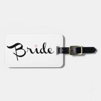 Escritura retra de la novia etiquetas de equipaje