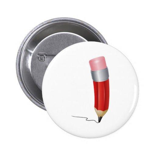 Escritura roja del lápiz del dibujo animado pins