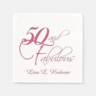 ¡Escritura rosada 50.a y fabuloso! Cumpleaños Servilletas De Papel