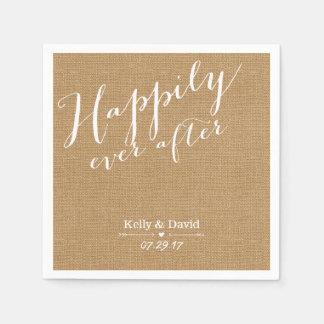 Escritura rústica de la arpillera feliz nunca servilleta desechable
