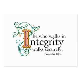 Escrituras de la biblia en confianza e integridad. tarjetas de negocios