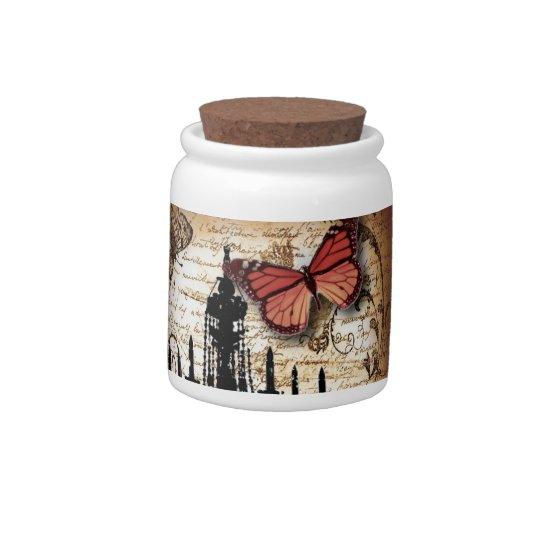 escrituras de la mariposa de la lámpara del platos para caramelos