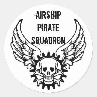 Escuadrilla del pirata del dirigible pegatina redonda