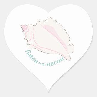 Escuche el océano colcomanias de corazon personalizadas