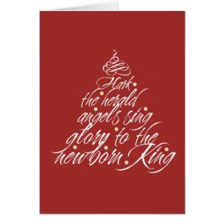 Escuche el rojo lírico del árbol del villancico tarjeta pequeña