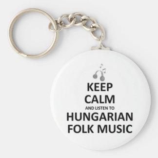 Escuche la música tradicional húngara llavero redondo tipo pin