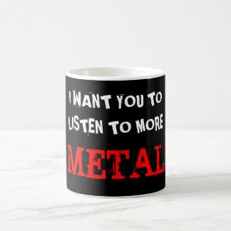 Escuche más metal taza básica blanca